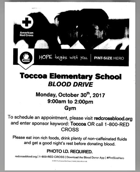 Blood Drive Oct. 30,2017